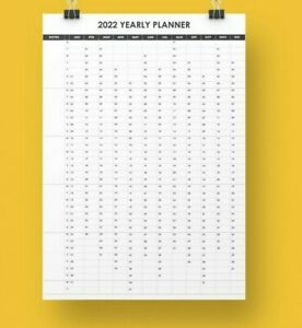 2022 Black Wall Calendar Large Poster print on A3, A2 and A1 size