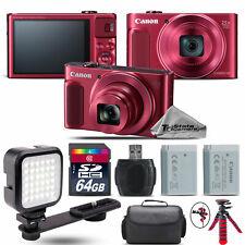 Canon PowerShot SX620 HS RED Digital Camera + Extra Battery + LED - 64GB Kit