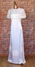 Genuine Vintage Wedding Dress Gown 70s Retro Victorian Edwardian Style UK 10