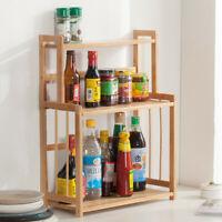 3-Tier Wood Spice Rack Standing Kitchen Countertop Organizer US Stock