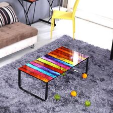 Retro Coffee Table Metal Frame Tempered Glass Rainbow Black Top Living Room