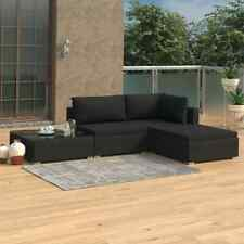 vidaXL Loungeset met Kussens 4-delig Poly Rattan Zwart Tuinset Meubelset Tuin
