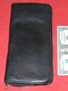 """Tannery West Large 10"""" Long Black Leather Passport Credit Card Wallet Holder GD"""