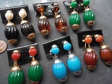 Vintage lot new old stock 6 prs Gemany lg cool plastic nice CLIP earrings F5L3