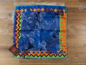 ETRO Milano blue paisley motif silk pocket square authentic - NWT