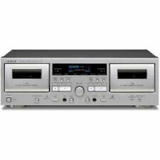 TEAC W-1200 Double Cassette Deck Player Silver Ac100v Fast