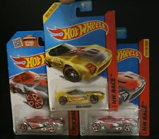 3 NEW HOT WHEELS HW RACE NERVE  HAMMER CLEAR RED YELLOW