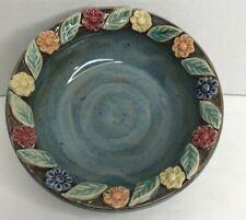 New ListingStudio Art Pottery Handmade Suzanne Seymour Bowl Applied Flower Leaves Blue Euc