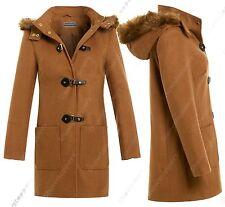 New Womens Hooded Fur Winter Coat Warm Lined Duffle Jacket Size 8 10 12 14 16