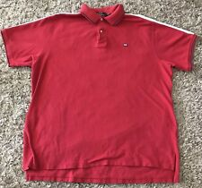 Vintage POLO JEANS CO Mens Polo Shirt Size XL Red Shoulder Stripes Blue White