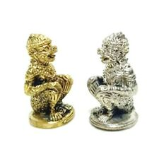 2X Mini Monkey Sitting Hanuman Ramayana Thai Amulet LP TIM Lucky Wealthy