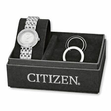 New Citizen Eco-Drive Ladies Crystal Silhouette Stainless Steel Watch EM0260-67