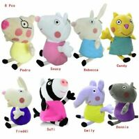 "8 pcs of Peppa Pig Friends SET Soft Stuffed 8"" inches Plush New with Tag for Kid"
