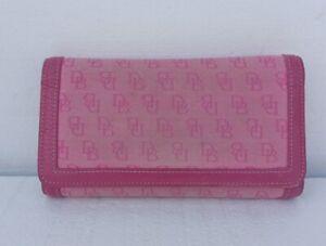 Dooney & Bourke Pink Canvas Leather Monogram Trifold Snap Wallet