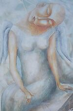 """Original painting Oil canvas stretched 20x16"""" CONTEMPORARY ART 'DREAMING ANGEL"""