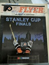 Philadelphia Flyers Signed 1985 Stanley Cup Finals Magazine Pelle Lindbergh RARE