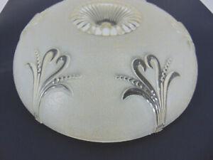 "Porcelier art deco 12"" light fixture frosted glass flush mount chandelier ivory"