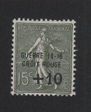 Croix-Rouge guerre timbre de France + 10 c sur 15 c Semeuse gomme sans charnière