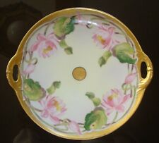 """ANTIQUE HAVILAND HAND PAINTED D'ARCY STUDIO CAKE PLATE, TRAY, WATER LILIES, 10"""""""