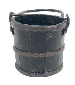 Original Antique Wooden Berry Basket Bucket Cast Iron Handle Black Paint
