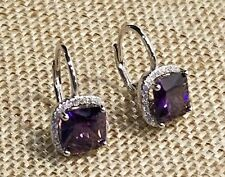 925 SILVER 2.5 CARAT PRINCESS CUT AMETHYST & CLEAR CZ HALO LEVERBACK EARRINGS