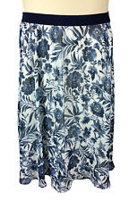 Womens Westport 1962 Blue and White Floral Print Skirt Size XL Elastic Waist