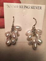 Vintage Handmade 925 Sterling Silver Genuine White Pearl Dangle Earrings