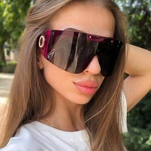 2021 Fashion Oversized Shield Sunglasses Pilot Women Outdoor Shade Glasses UV400