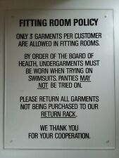Fitting Room Policy Clear Acrylic Wall Plaque Sign 11x14 Pre-drilled Holes