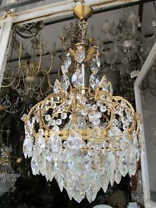 Antique Vnt French Cage Style Crystal Chandelier Lamp Lustre 1940's 15in Ø.dmtr