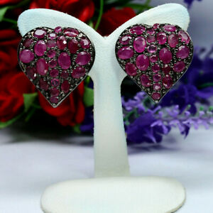 NATURAL HEATED PINK RED RUBY HEART EARRINGS 925 STERLING SILVER