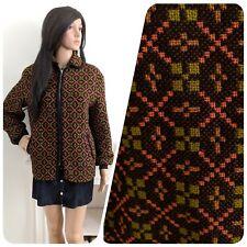 Vintage 60s Welsh Tapestry Mod Geo Wool Zip Bomber Coat Jacket M L 12 14