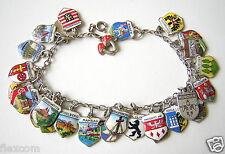 Bettelarmband 28 x Städte Wappen/Glückspilz 800/835/900 Silber 18 cm/31,6 g