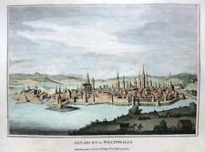 OSNABRUCK GERMANY COPPER ENGRAVING WITH HAND COLOUR  GENUINE ANTIQUE c1784