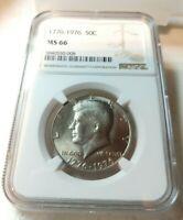 1976 P 50c Kennedy Bicentennial Half Dollar Clad Coin NGC MS66 NEW HOLDER GEM BU