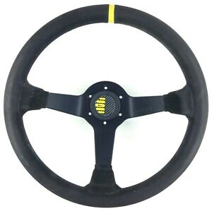 Genuine Sparco 350mm black suede steering wheel with horn button. Race, rally 3C
