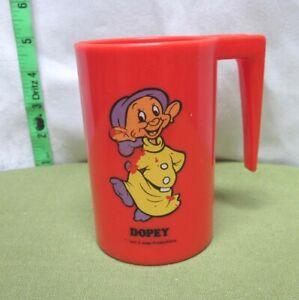 DOPEY plastic milk mug Snow White Seven Dwarfs cup 1970s cartoon Disney rare