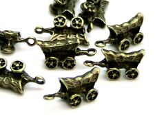 10 Pcs Antique Bronze Tibetan 3D Gypsy Carriage Charms Travellers Fair 18mm G149