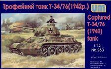 Unimodels 1/72 WWII T34/76 Captured German Tank 1942 Plastic Model Kit 253 NEW!