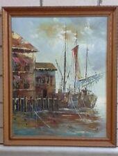 Vintage Framed Oil on Canvas, Unknown Artist, Boats at the Docks, Signed LRHS