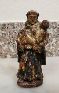 Antique 19th Century Carved Religious Santos Polychrome Infant Jesus Saint