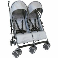 Grey Zeta Double Twin Stroller Buggy Pushchair Pram inc Raincover