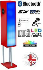 Large Bluetooth Phone & Tablet 2.1 Tower Speaker W/ Disco Party Lights - Red