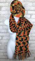Vintage 70's Orange Green Calico Hand Knit Pom Beret Hat And Scarf, Boho, Hippie