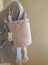 NWT New Tory Burch Macrame White Woven Leather Small Bucket Tote Bag Dust Authen