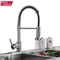 """Kitchen Sink Faucet Pull Down Sprayer Brushed Nickel Mixer Tap With 10"""" Cover"""