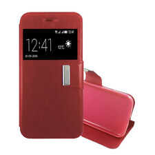 Funda Libro IPHONE 5 Cuero sintetico Interior Gel Top Protect roja FLIP CASE
