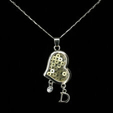 Heart D Dangle Necklace Pendant Charm Wedding Party Valentine's Day Jewelry New