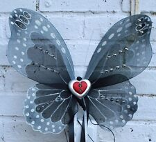 DELUXE RED HEART STUDDED GOTH PUNK FAE FAIRY PIXIE WINGS FESTIVAL HALLOWEEN