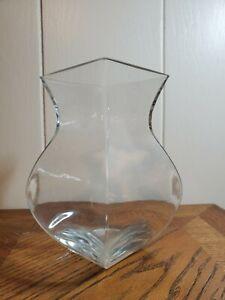 "8"" Clear Glass Square Hourglass Vase Art Silk Flowers Bamboo Betta Tank"